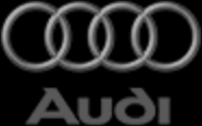 značka Audi černobílá