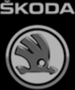 značka Škoda černobílá