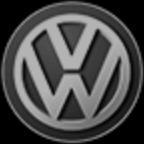 značka Volkswagen černobílá